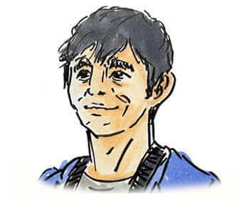 NHKの朝ドラ「おかえりモネ」で朝岡のキャスト西島秀俊の画像です。